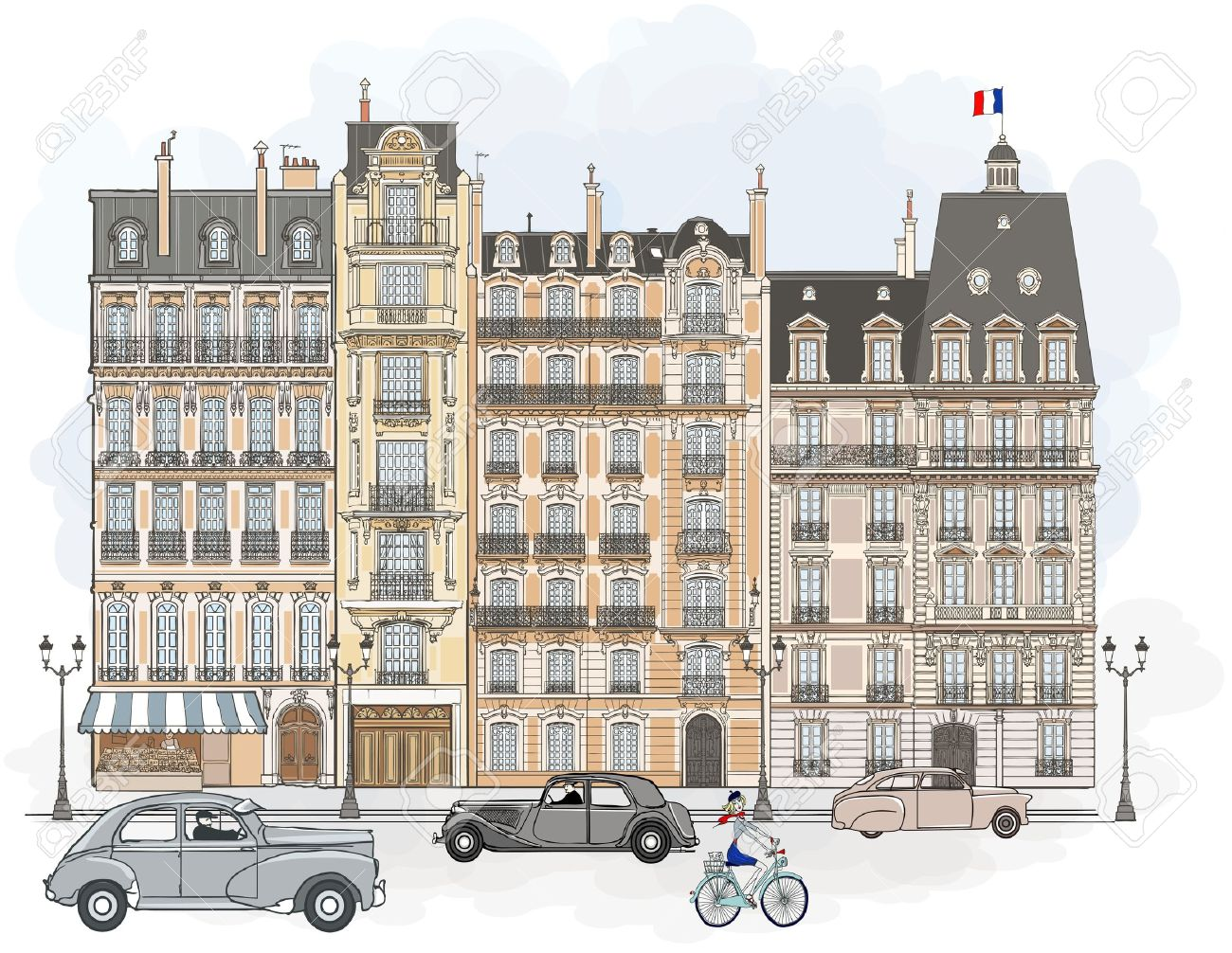 illustration of facades in Paris Stock Vector - 11956818