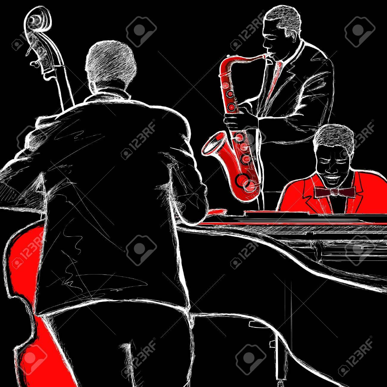 illustration of a jazz band with double-bass piano and saxophone Stock Vector - 12567283