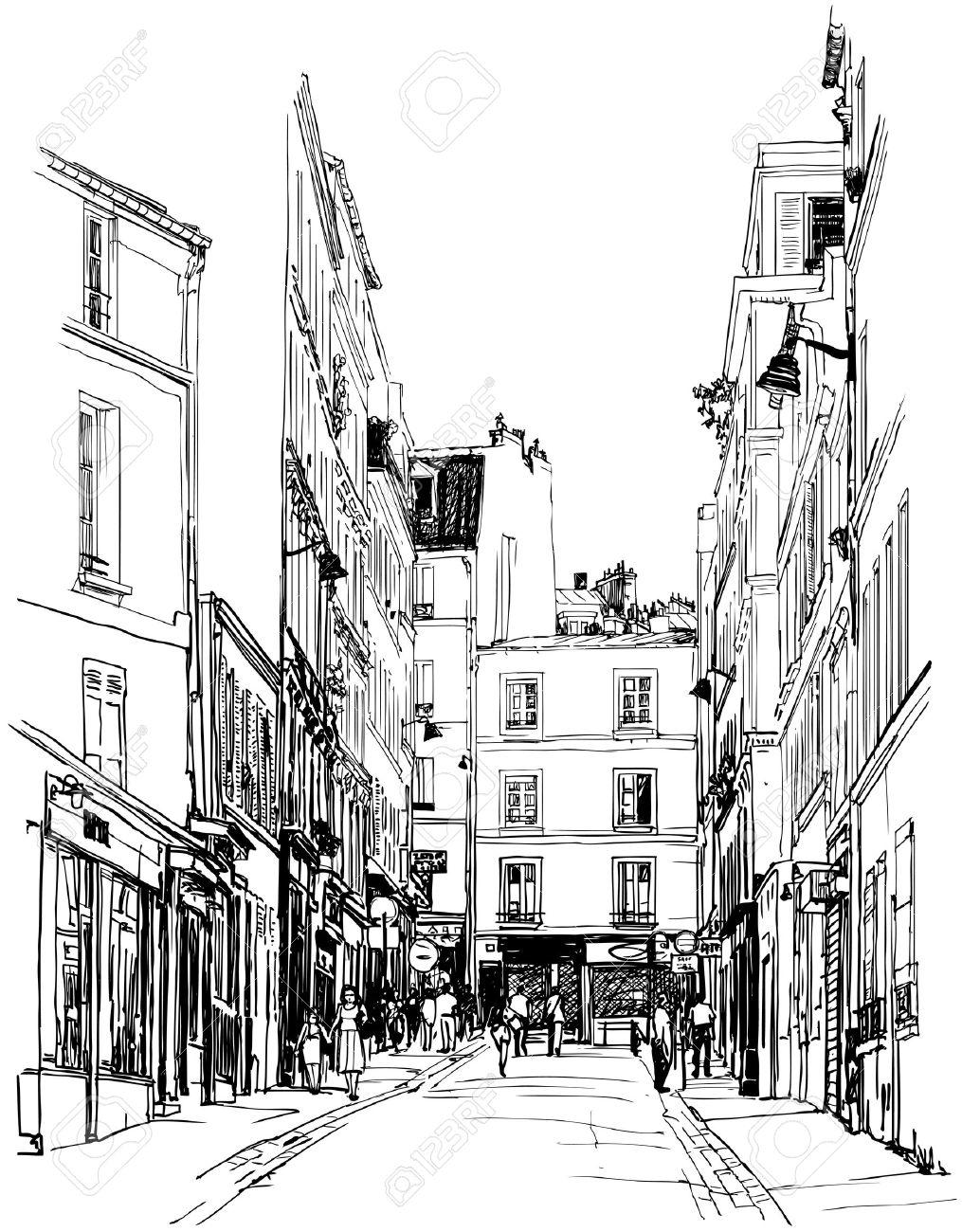 illustration of a street near Montmartre in Paris Stock Vector - 15846248