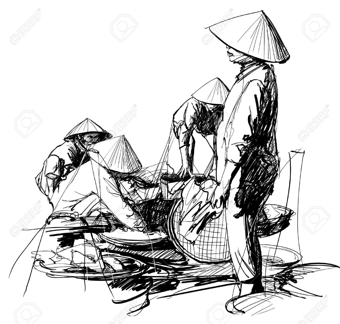 Vector illustration of a market scenery in Vietnam Stock Vector - 16394126