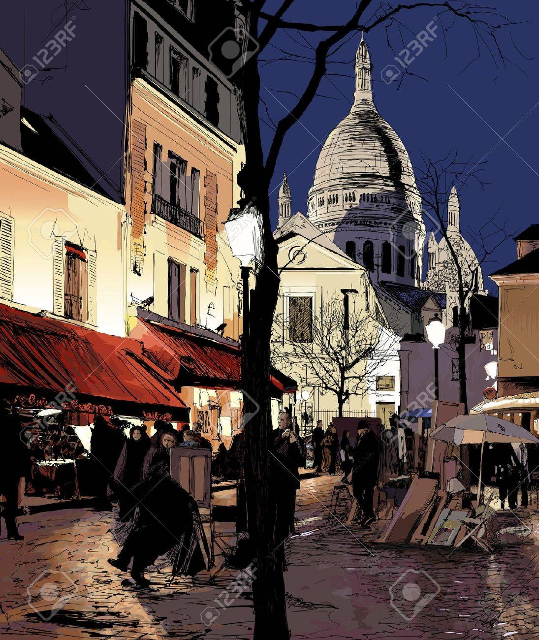 illustration of Paris - Montmartre in winter Stock Vector - 16608152