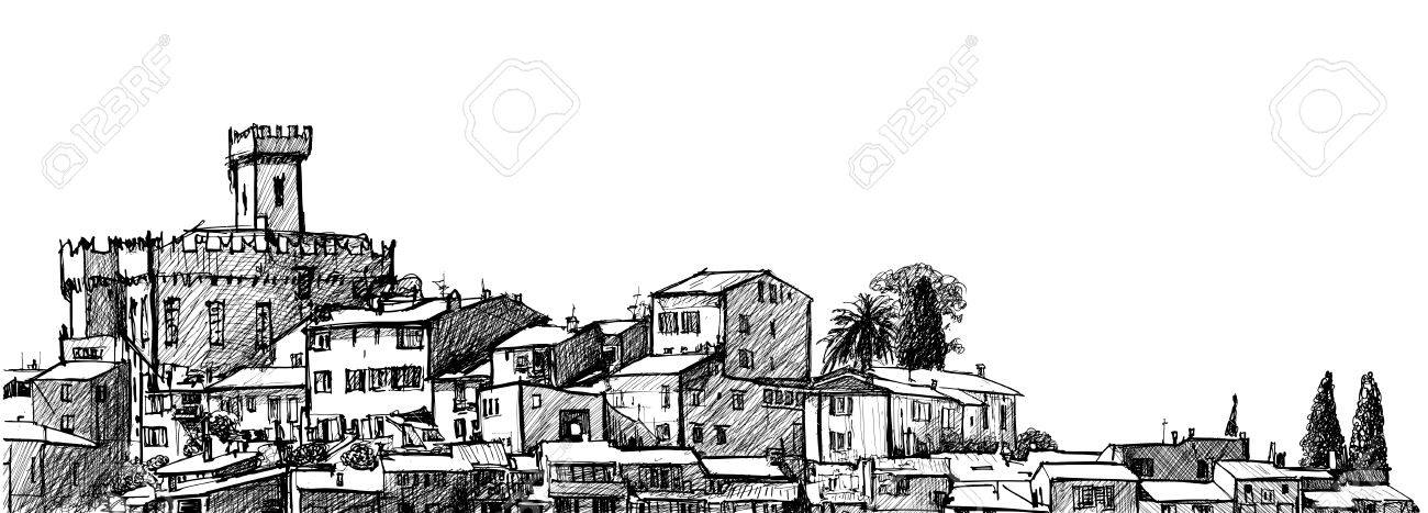 illustration of Cagnes sur Mer: the largest suburb of the city of Nice in France - 18093745