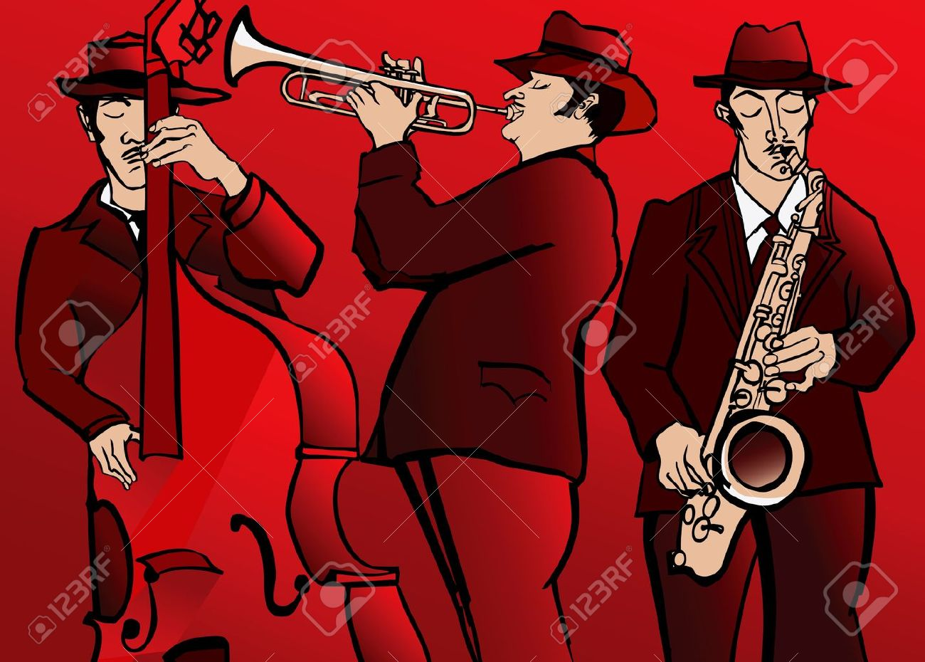 illustration of a Jazz band with bass saxophone and trumpet Stock Vector - 18403010