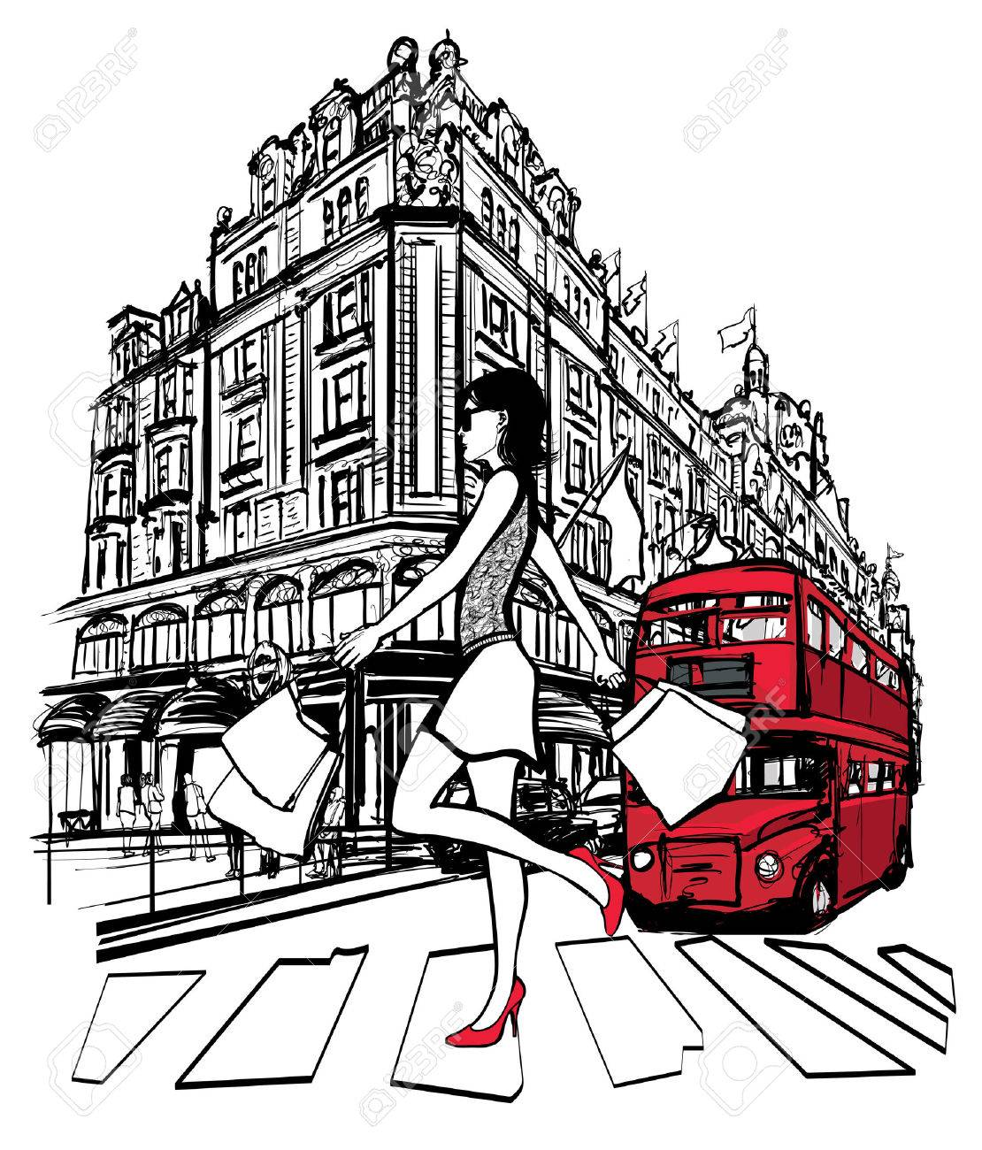 Image result for london girl shopping free cartoon image clipart