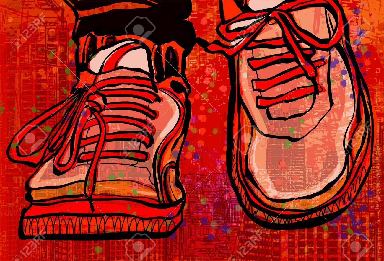 Uno Basket Sfondo Illustrazione Scarpe Città Su Vettoriale Da Grunge 1JcTlFK