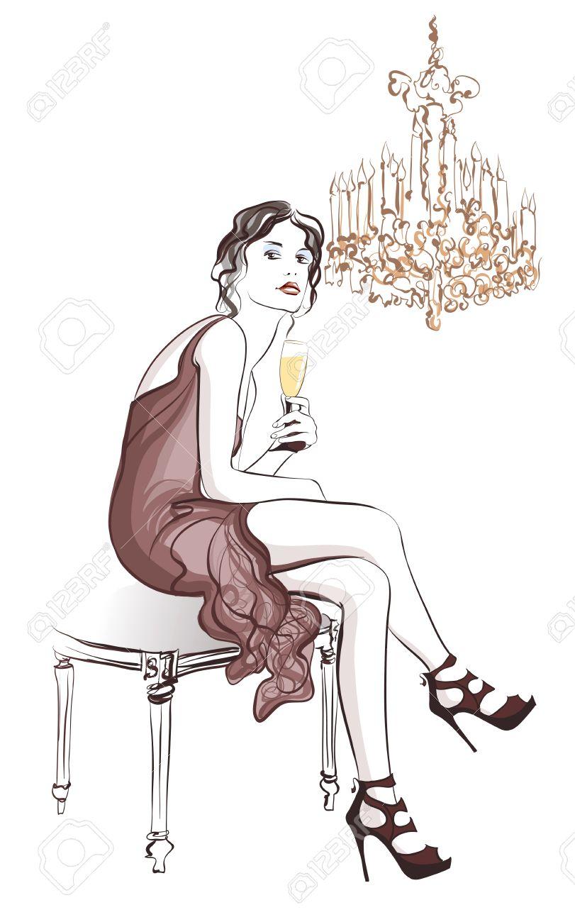スタイリッシュな装飾 ベクトル イラストでシャンパンを飲む女性の