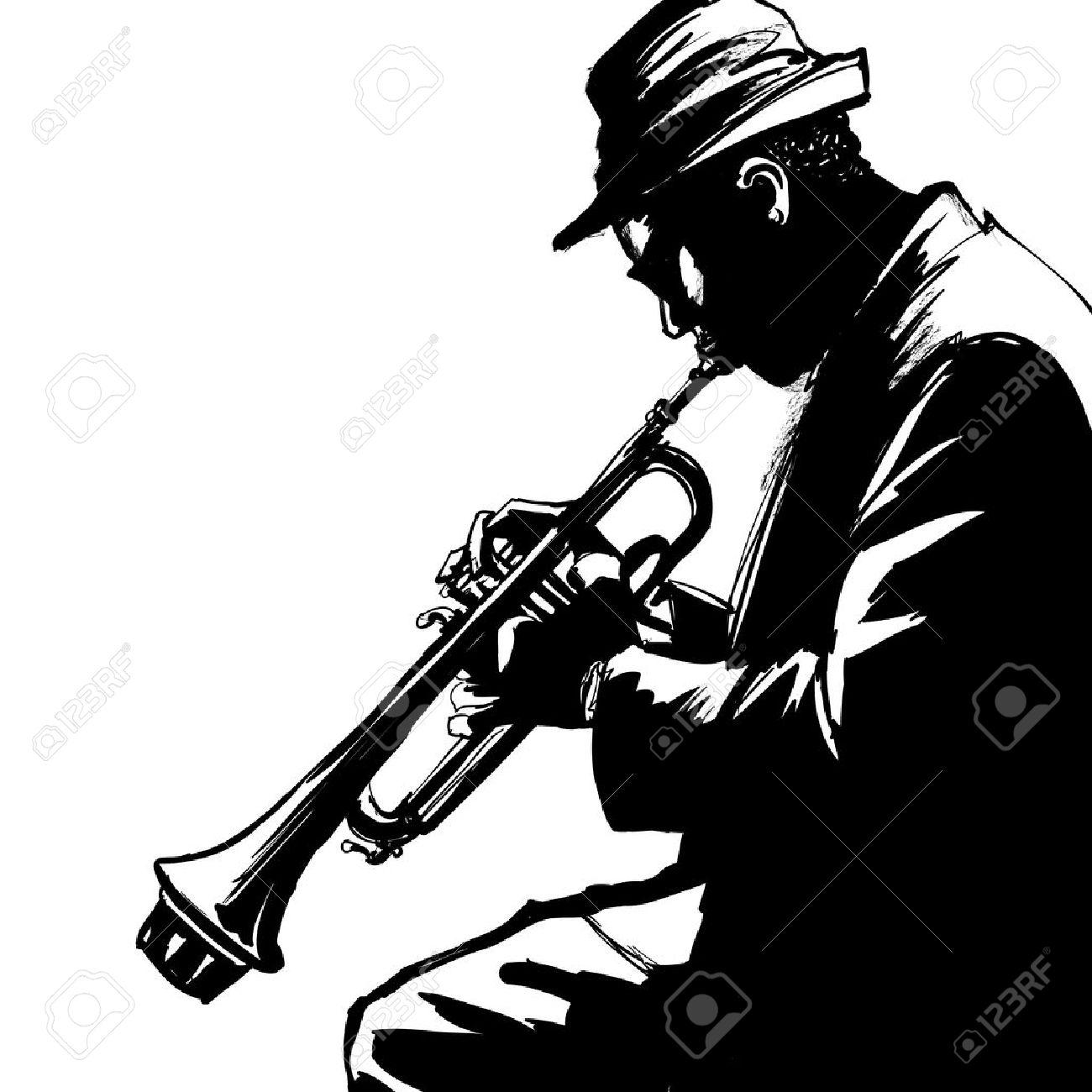 ジャズ トランペット プレーヤー ベクトル イラストのイラスト素材