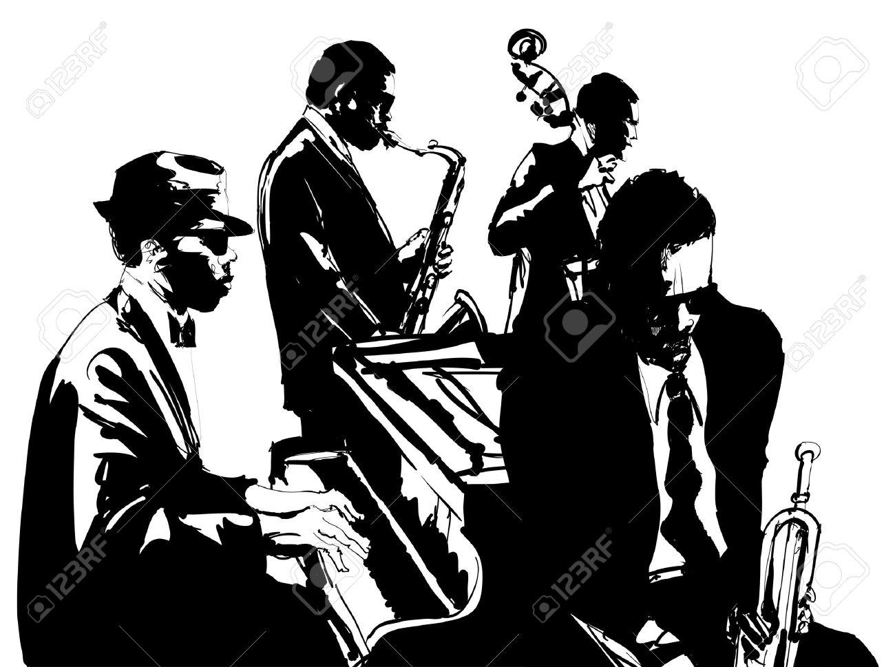 ジャズ サックスダブルベースピアノとトランペット ベクトル