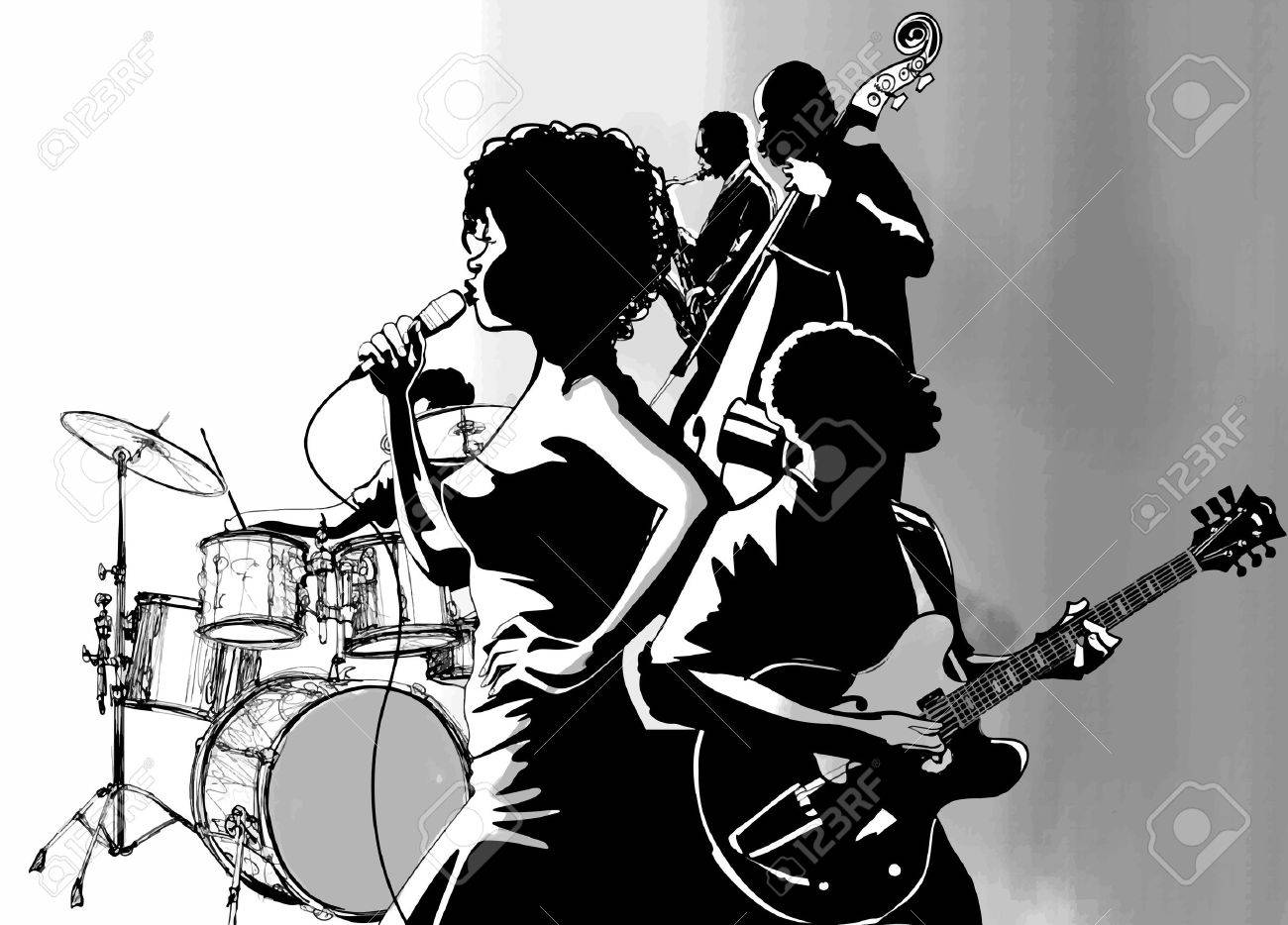 Jazz Singer With Guitar Saxophone And Double Bass Player