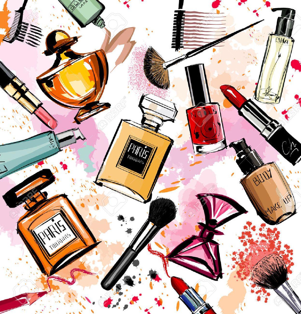 Acuarela cosméticos y perfumes colección ilustración vectorial