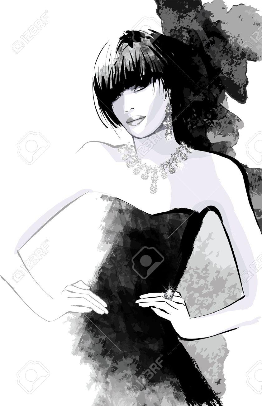 Woman in black dress - Vector illustration Stock Vector - 47042291