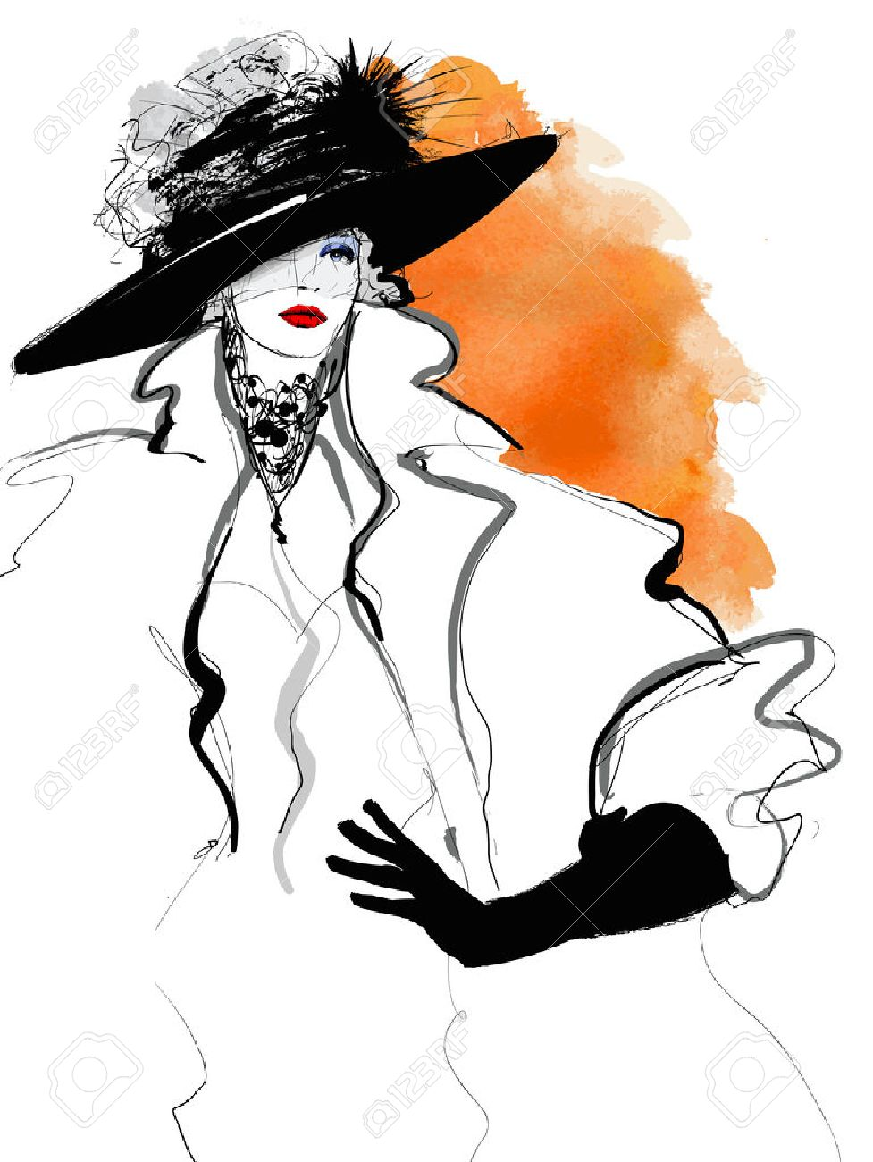 Fashion woman model with a black hat - illustration - 55050086