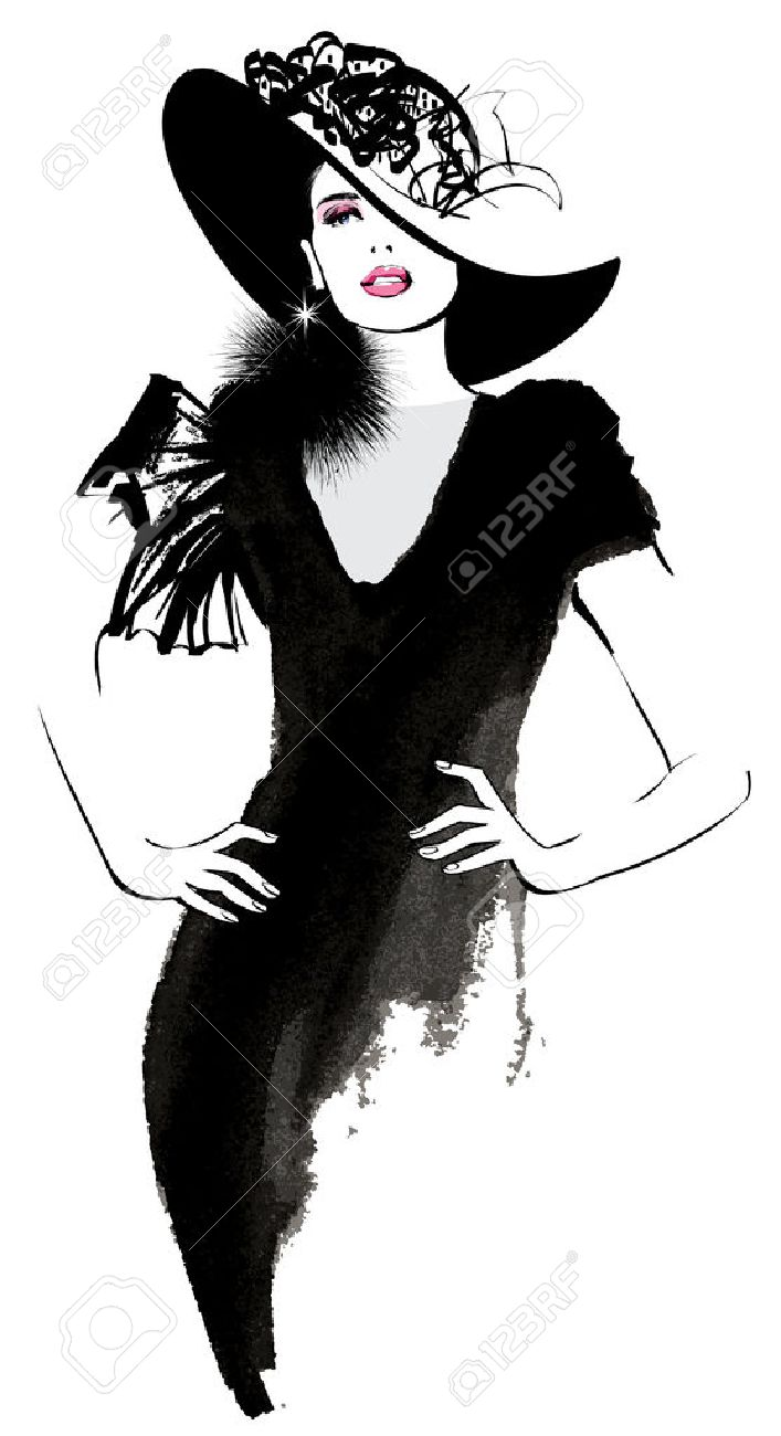 Fashion woman model with a black hat - illustration - 55050093