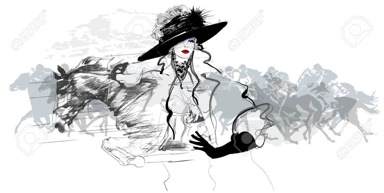 Woman in a horse racecourse - vector illustration - 66071329