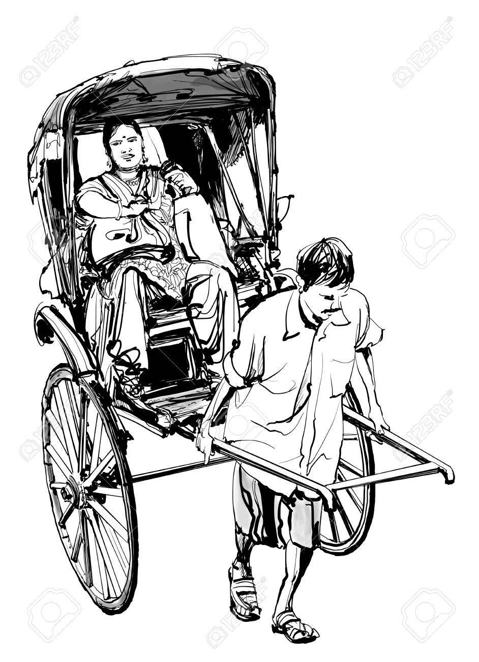 コルカタインド 乗客が人力車を描画 ベクトル イラストのイラスト