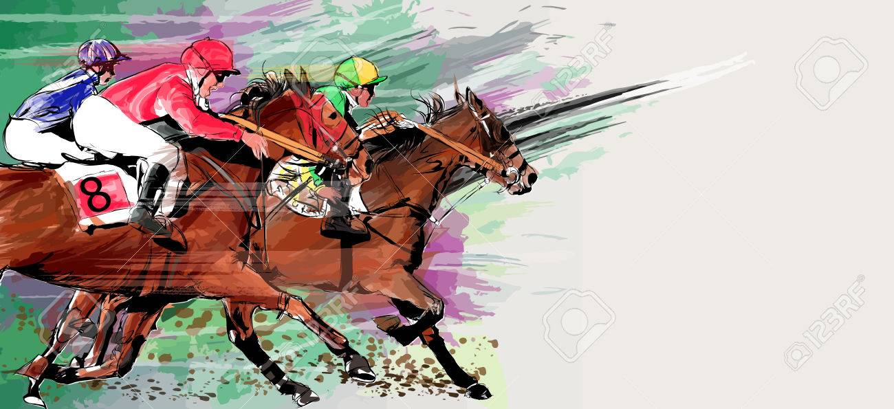 Horse Racing Over Grunge Background Vector Illustration Royalty Free Cliparts Vectors And Stock Illustration Image 74357451