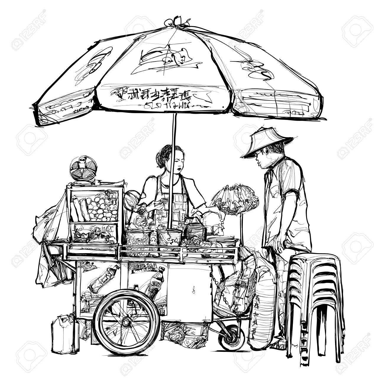 Street food seller in Bangkok (street, food, thailand) - vector illustration - 82091268