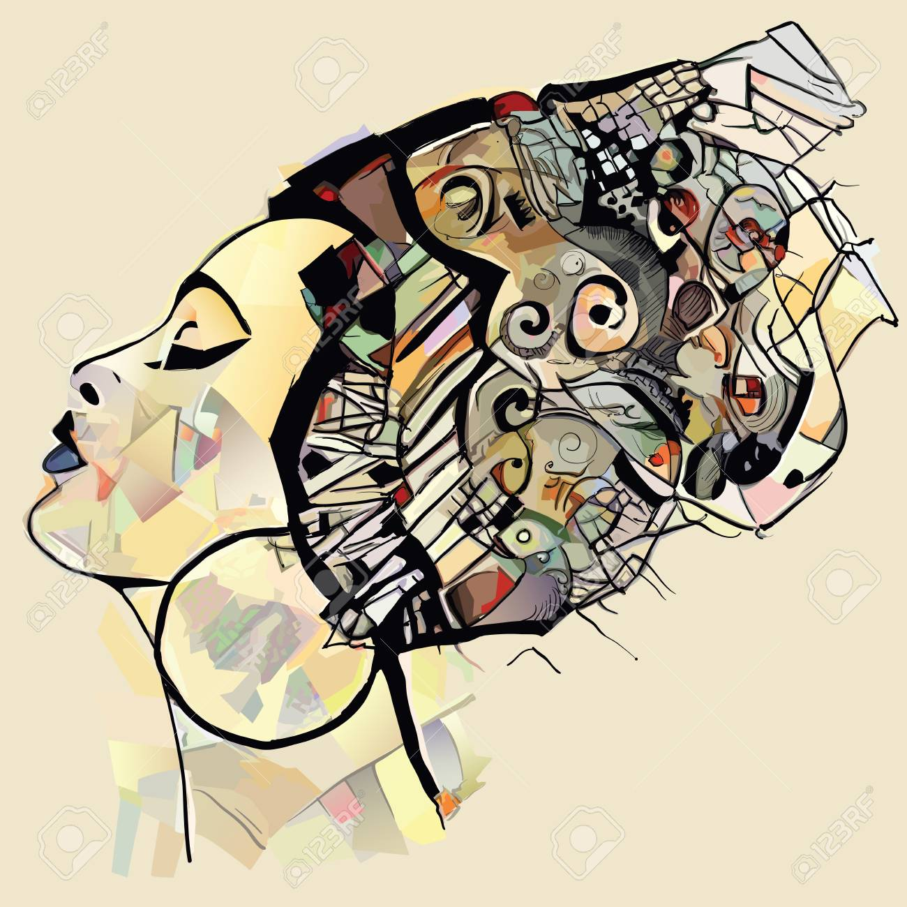 Portrait of cute african woman with hat (profile) perfect for interior design, page decoration, web and other:- vector illustration (totally fictitious) - 120806899