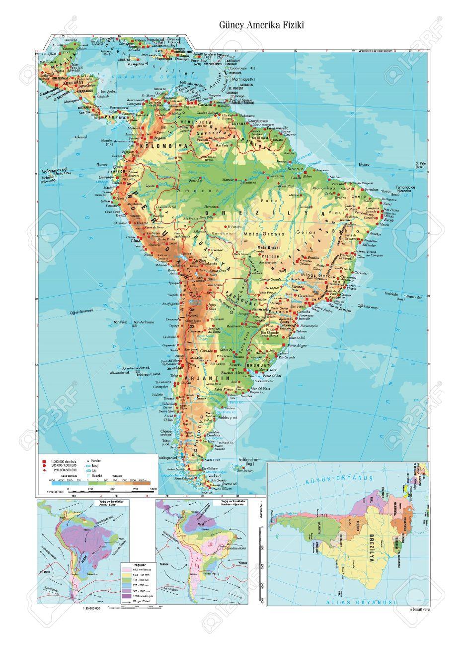 Carte Amerique Physique.Carte Physique De L Amerique Du Sud