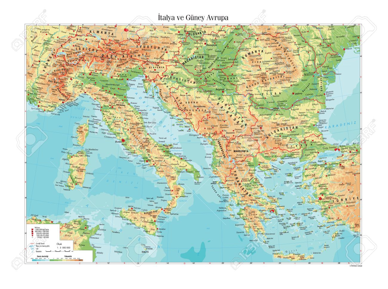 Map Of South Of Italy.Physical Map Of Italy And South Europe