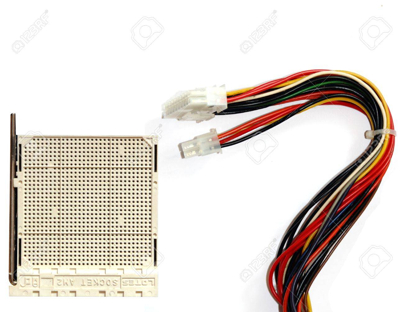 CPU socket and old computer cables Stock Photo - 9223382