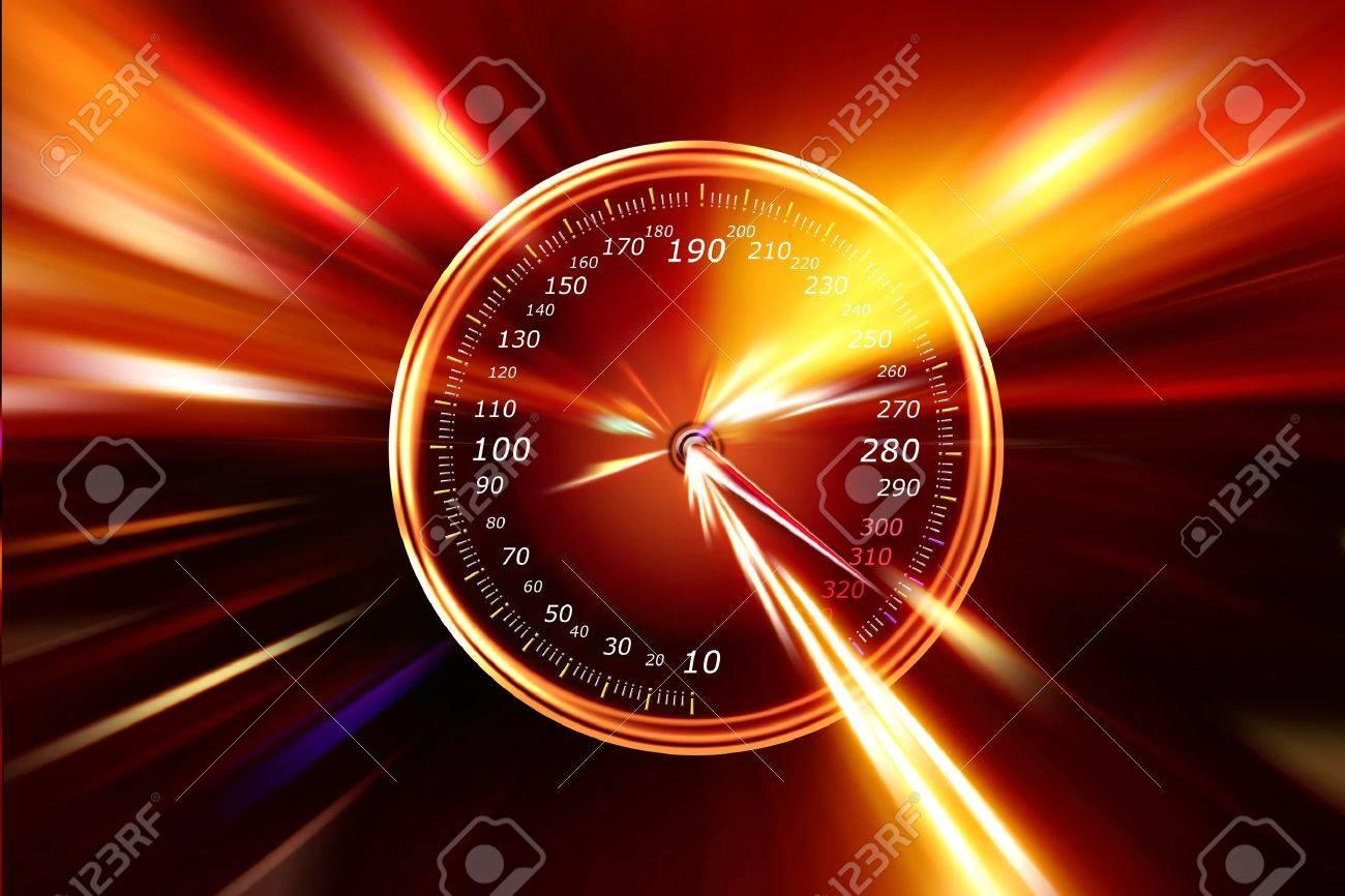 speedometer on night highway - 11266694