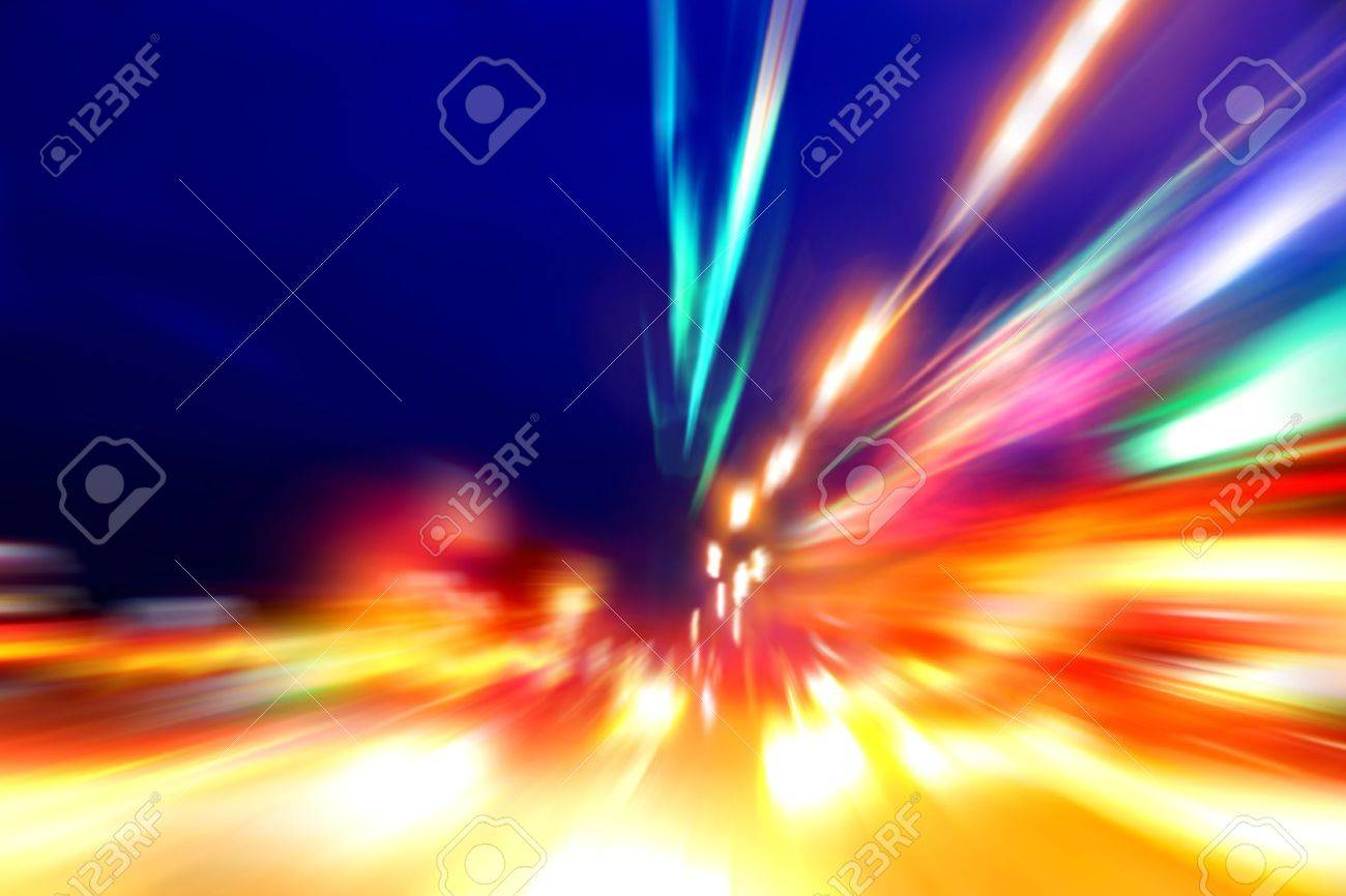 acceleration speed motion on night street - 16027467