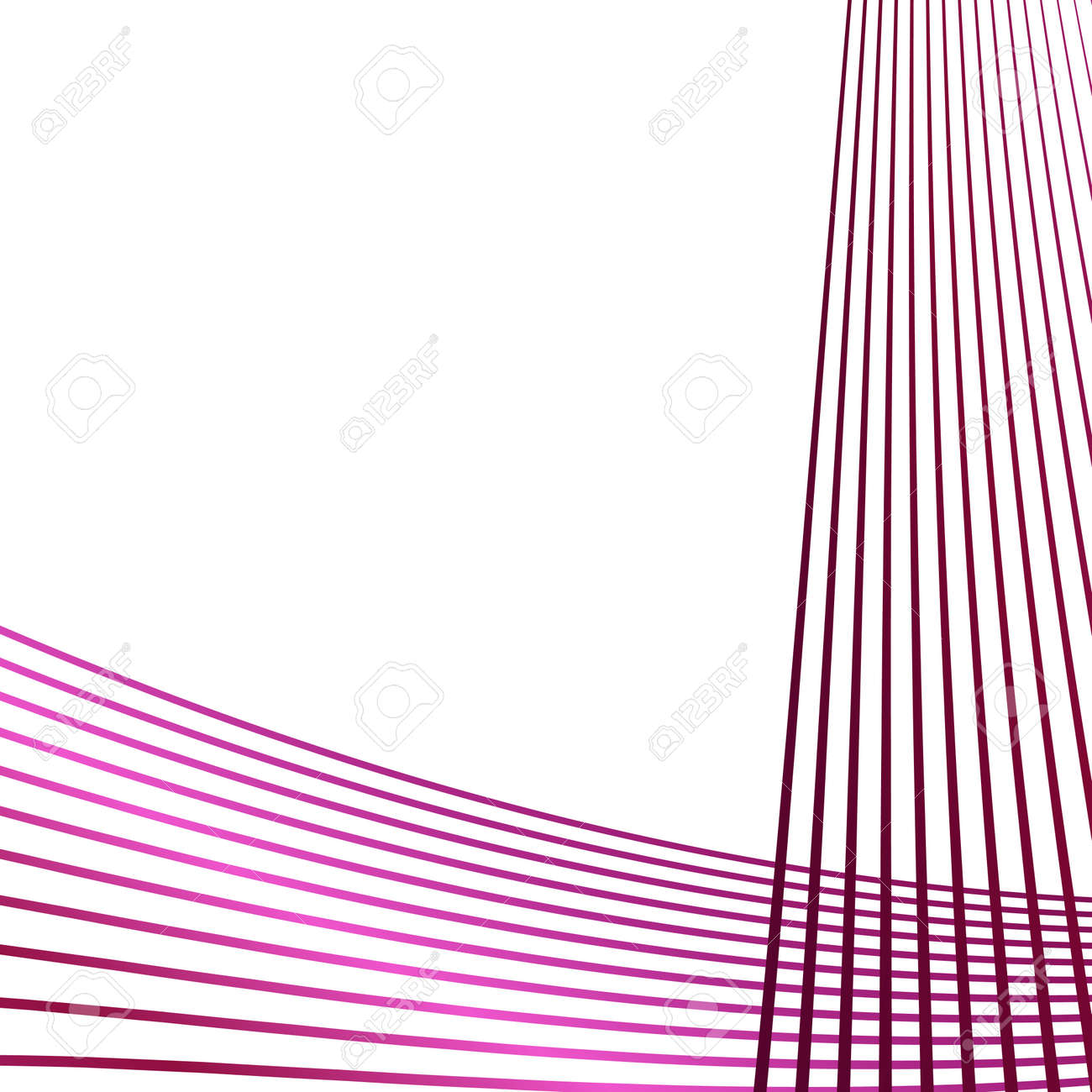 Wave of the many colored lines. Abstract wavy stripes on a white background isolated. Creative line art. Vector illustration EPS 10. Design elements created using the Blend Tool. Curved smooth tape - 157922817