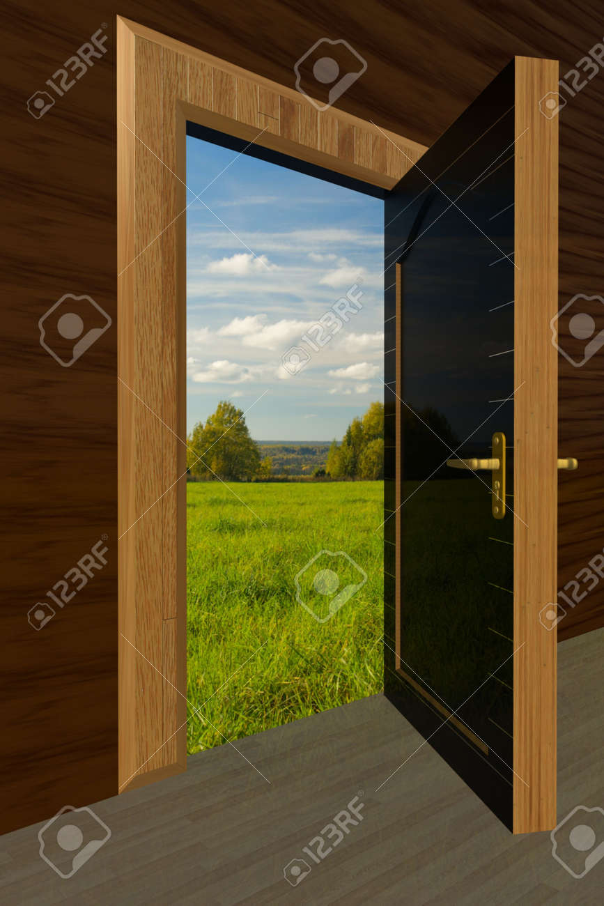 Kind on the nature through the open door Stock Photo - 2108796