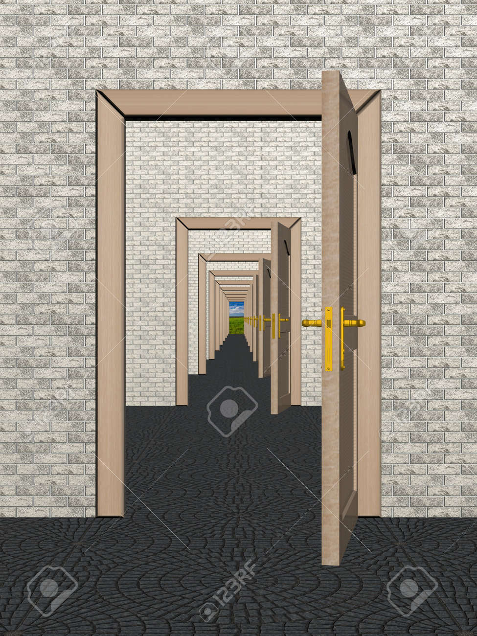 A row of the open doors. 3D image. Stock Photo - 2250198