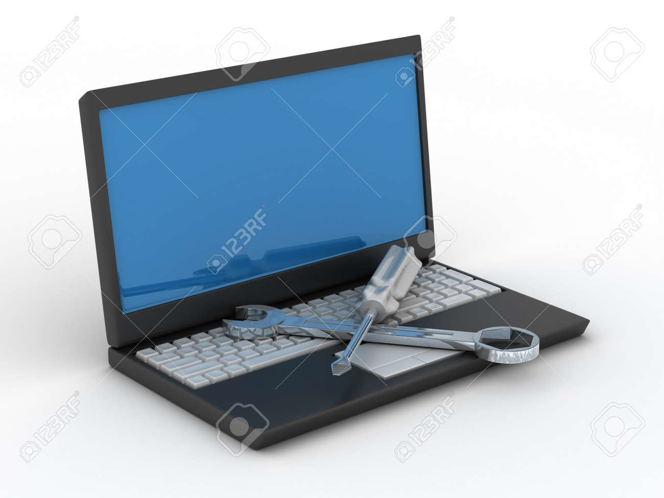 Computer technical service. Isolated 3D image Stock Photo - 4282342
