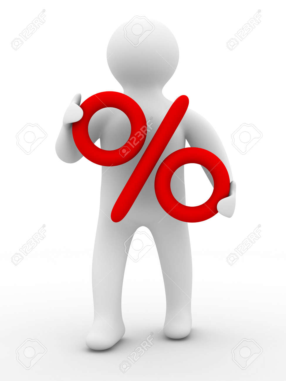 Discounts. Percent on the person. Isolated 3D image Stock Photo - 5586597