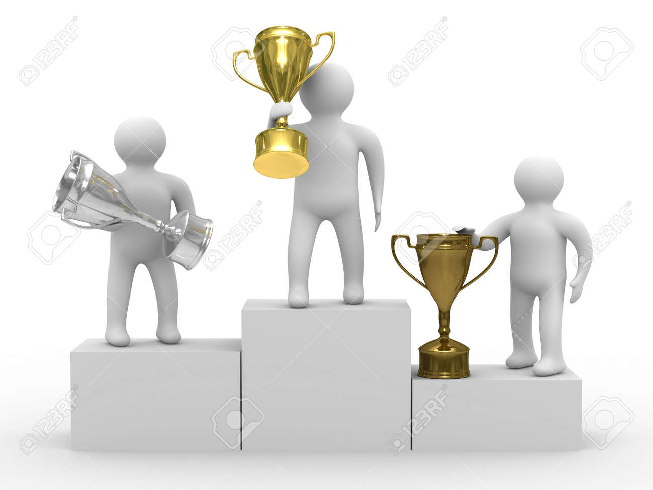 winners with cups on white background. Isolated 3D image Stock Photo - 5680526