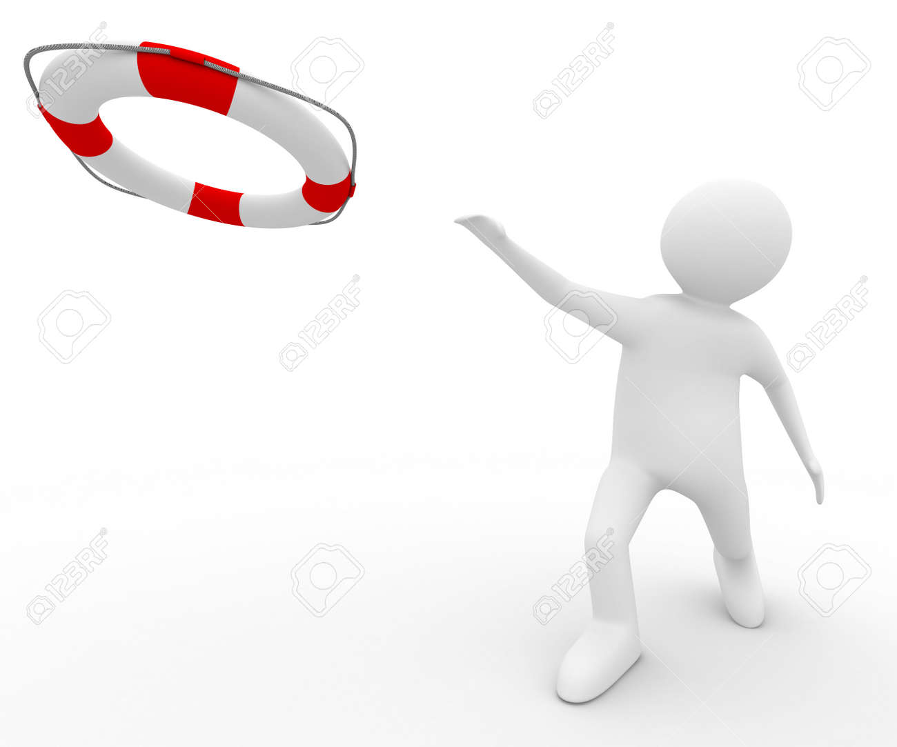 rescuer with lifebuoy ring on white background. Isolated 3D image Stock Photo - 5945694