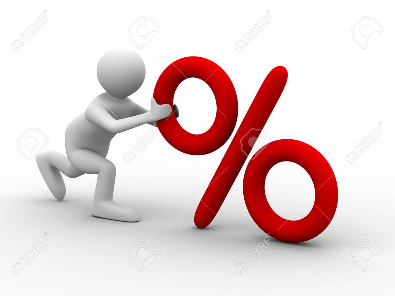men push percent on white background. Isolated 3D image Stock Photo - 6020150