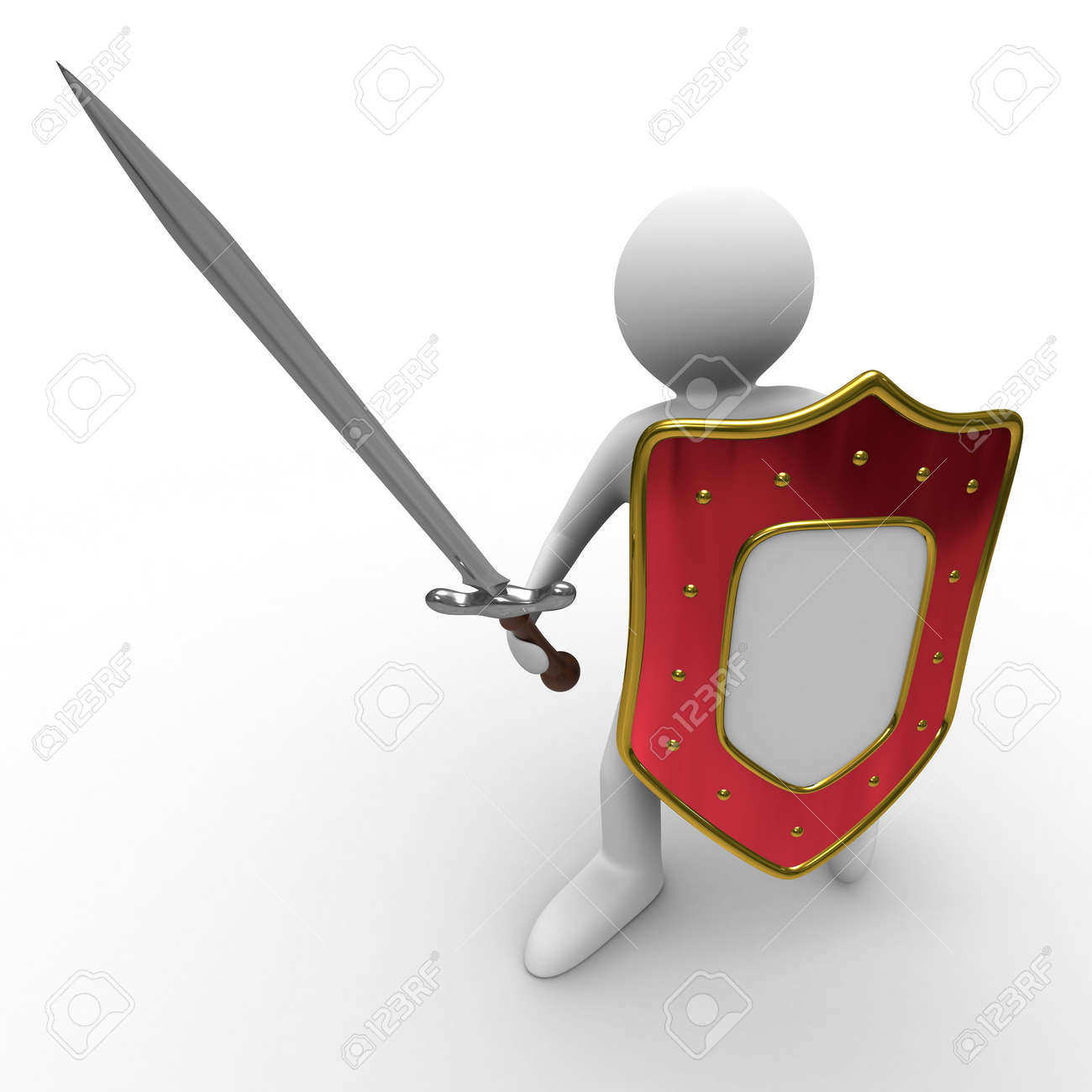 knight with sword on white background. Isolated 3D image Stock Photo - 6282543