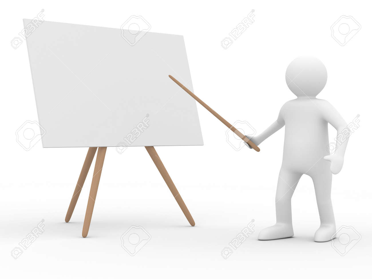 Men with empty board. Isolated 3d image Stock Photo - 6435188