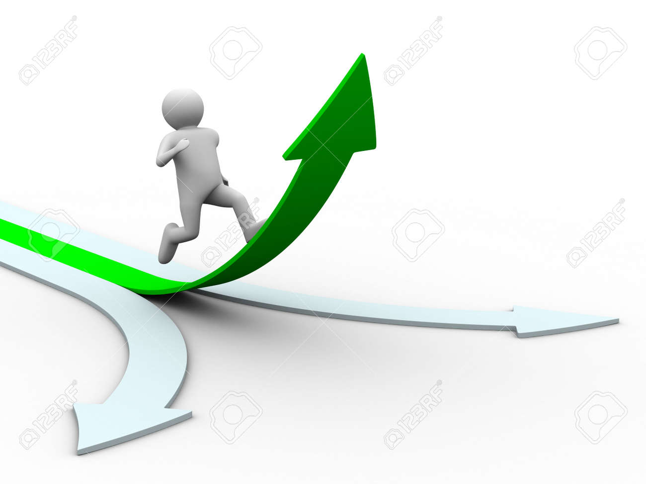 Movement direction to success. Isolated 3D image Stock Photo - 6679195