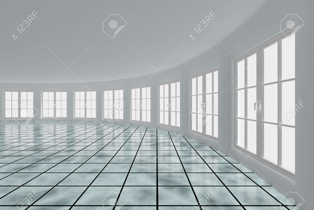 Empty hall with windows. Interior. 3D image Stock Photo - 6915548