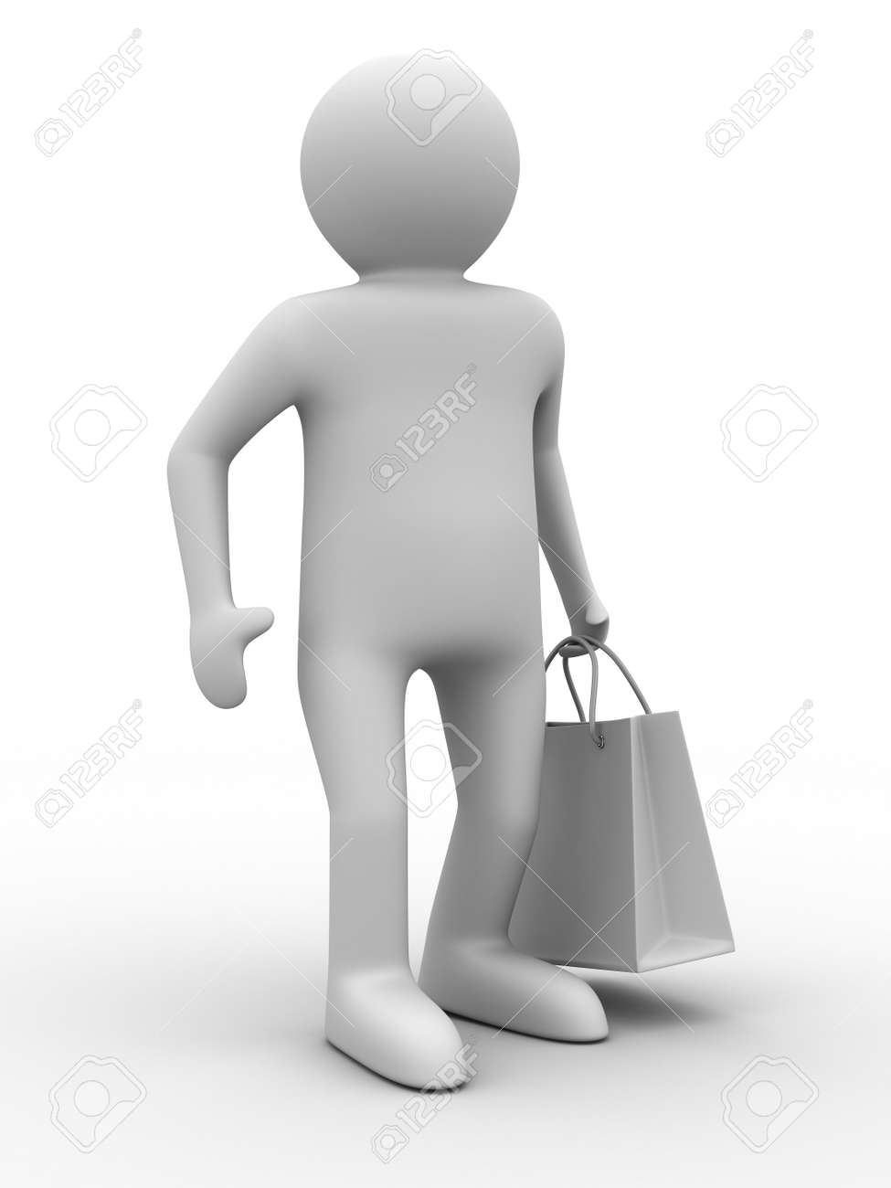 Man with shoping bag on white. Isolated 3D image Stock Photo - 6967709