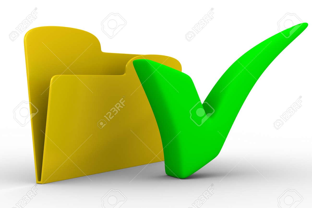 Yellow computer folder on white background. Isolated 3d image Stock Photo - 7292949