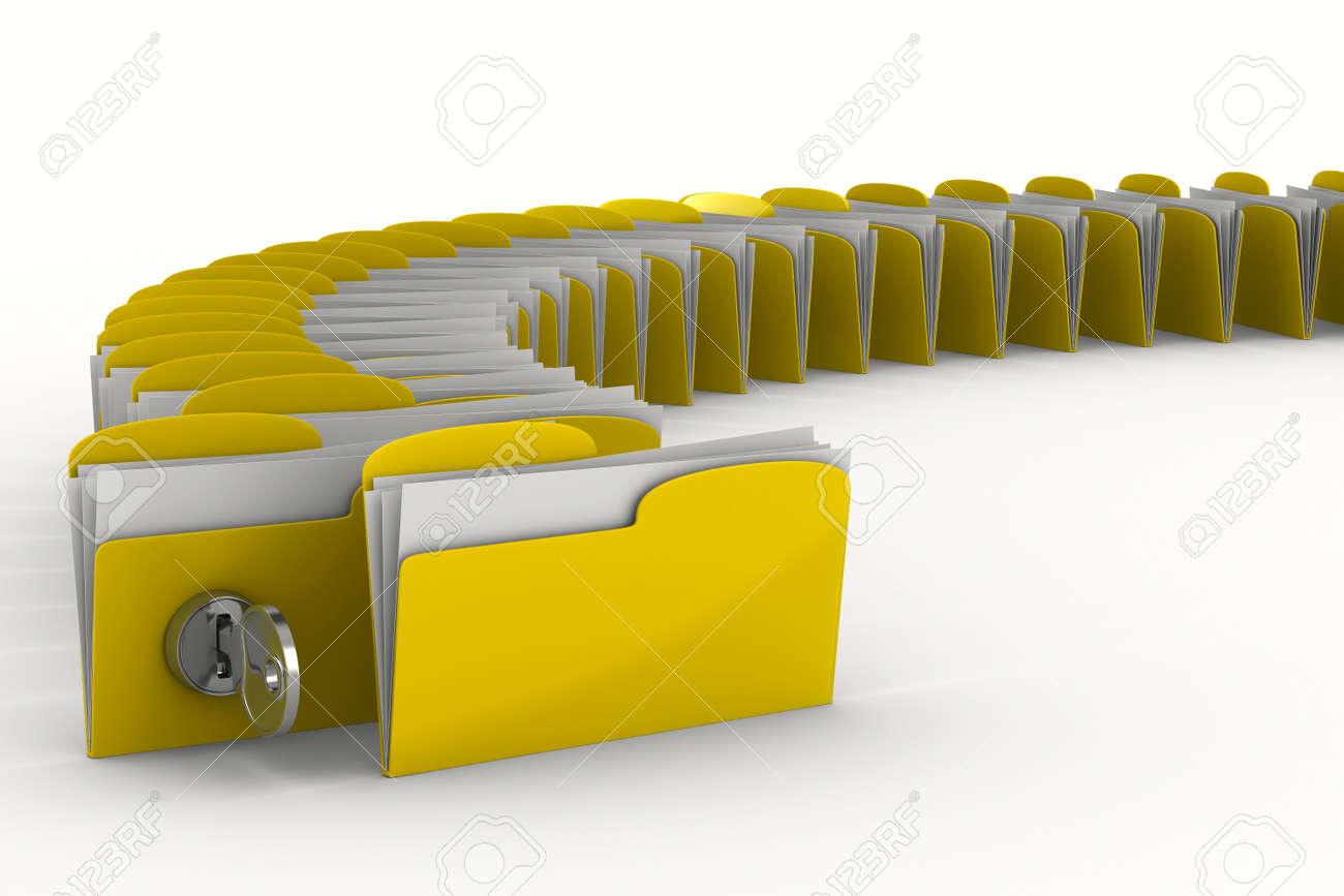 Yellow computer folder with key. Isolated 3d image Stock Photo - 8065279