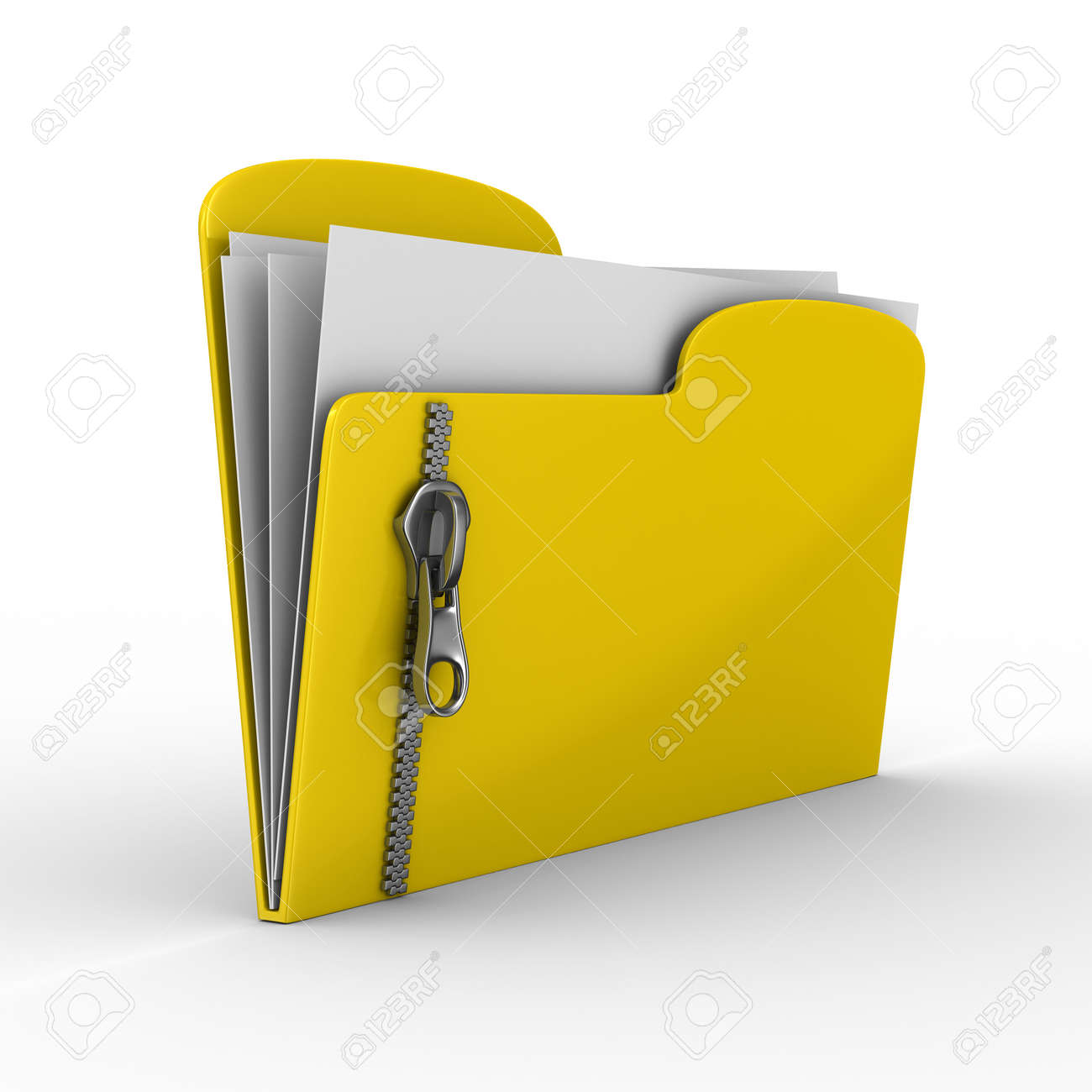 Yellow computer folder with zipper. Isolated 3d image Stock Photo - 8110895