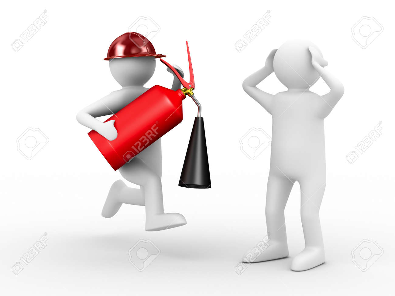 fireman on white background. Isolated 3D image Stock Photo - 8127185