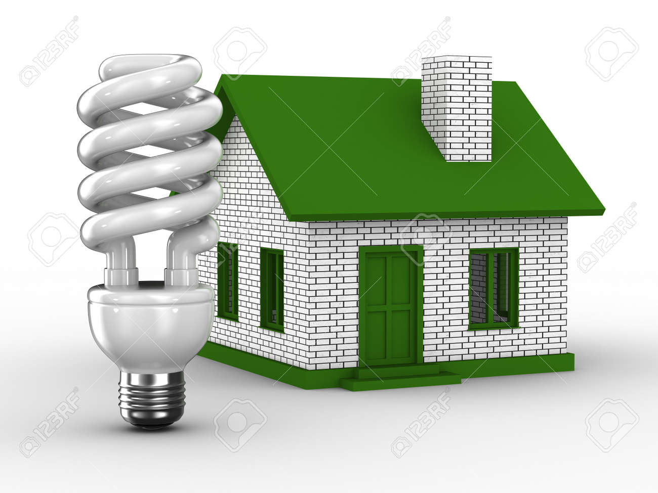 Power efficiency of house. Isolated 3D image Stock Photo - 8238858