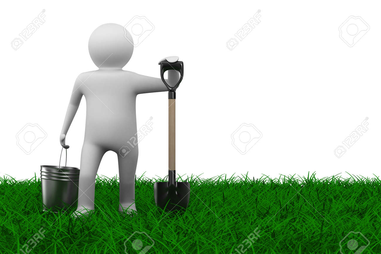 Man with bucket and shovel on grass. Isolated 3D image Stock Photo - 8321027