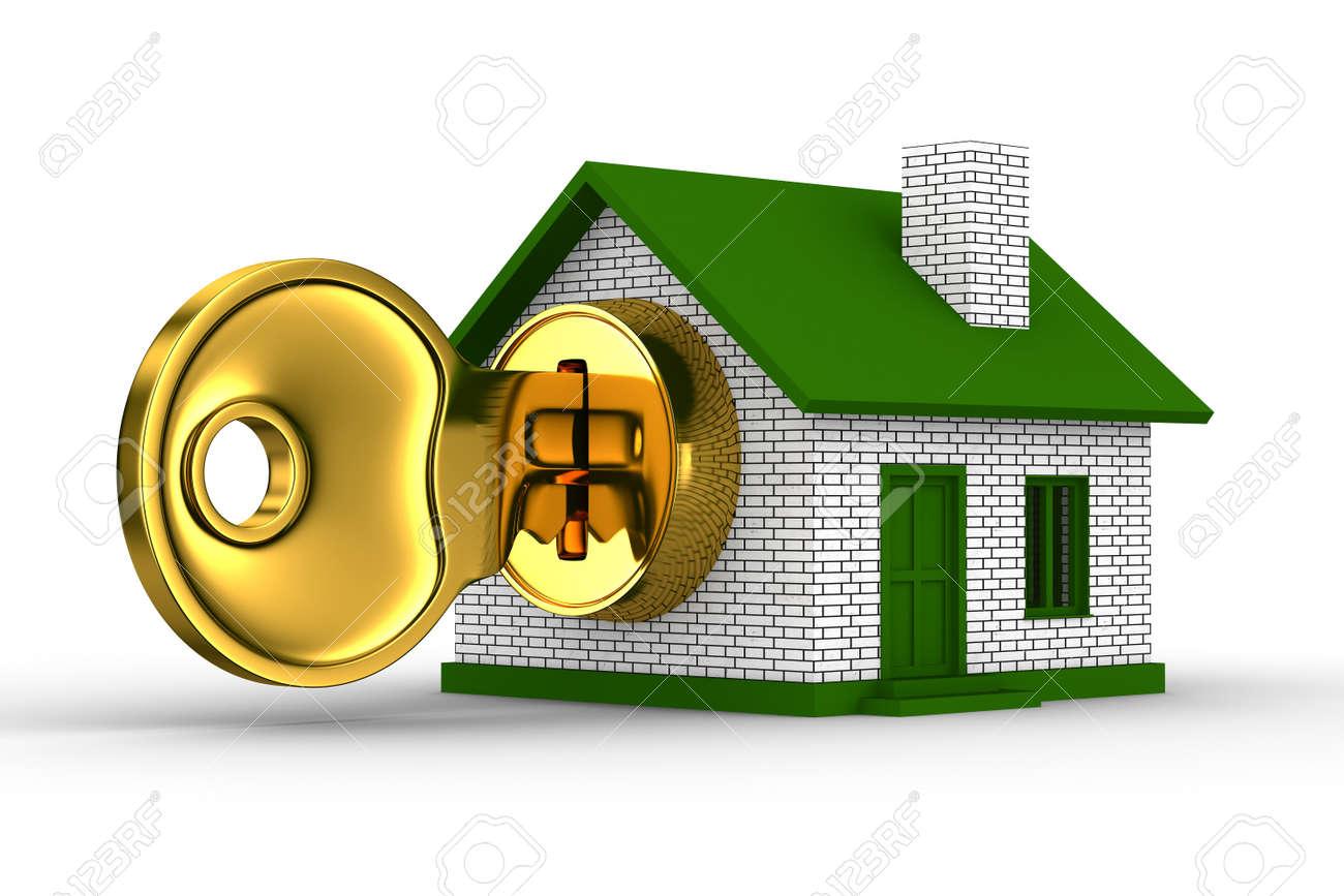 key and house on white background. 3D image Stock Photo - 8665145