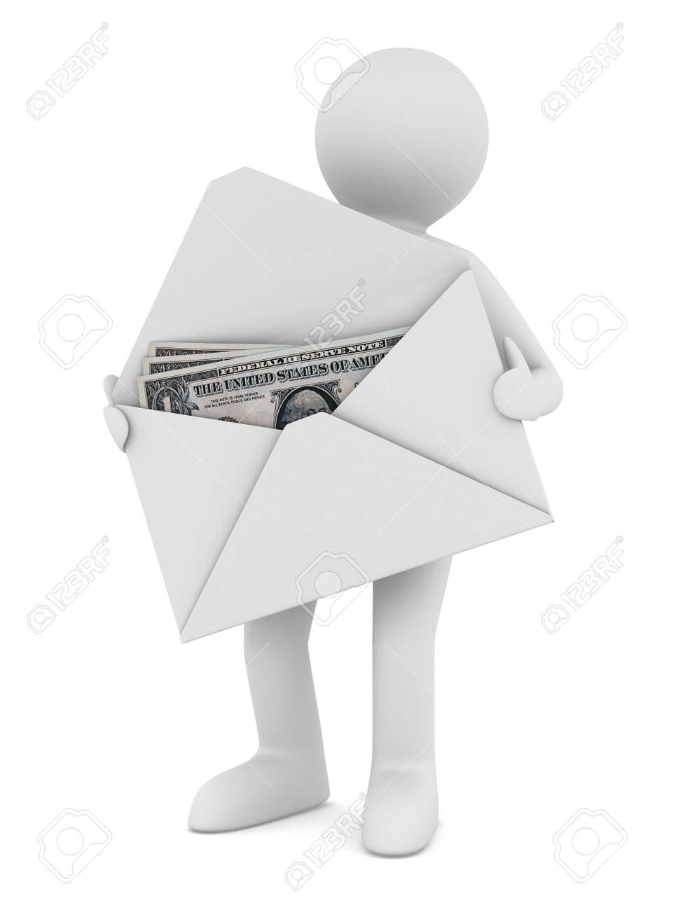 Money in envelope on white background. Isolated 3D image Stock Photo - 8779344