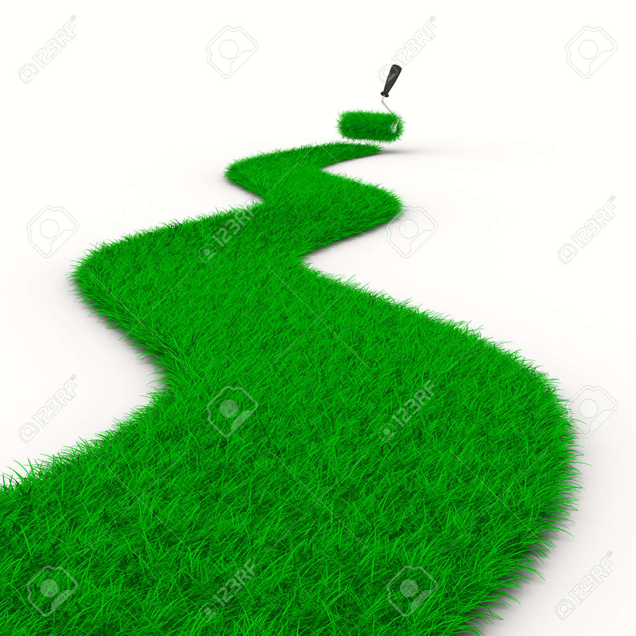 road from grass on white. Isolated 3D image Stock Photo - 8993455