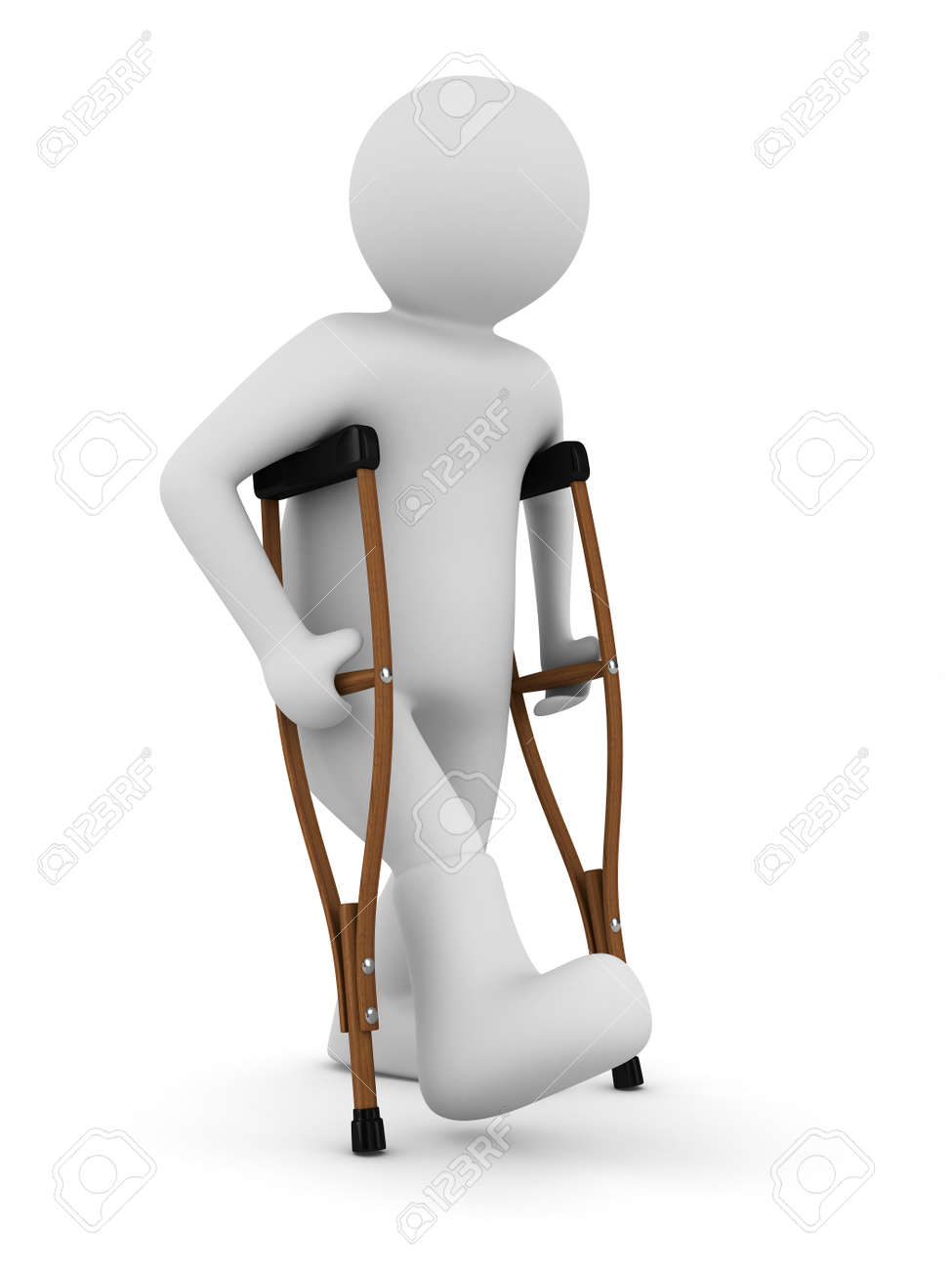 man on crutches on white background. Isolated 3D image Stock Photo - 9027849